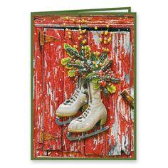 Vintage Skates Christmas Card, Set of 20 - Matching envelope seals included! Personalised Christmas Cards, Vintage Christmas Cards, Skates, Wonderful Time, Winter Wonderland, Happy Holidays, Holiday Gifts, Envelope, Spirit