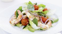 Chargrilled prawn salad with saffron dressing