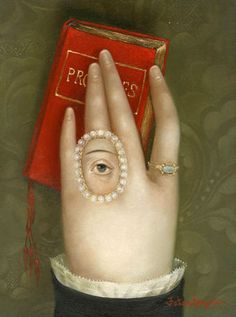 """Fatima Ronquillo, """"Hand with Promises,"""" 2015, oil on panel, 7.75 x 5.75 inches, SOLD"""