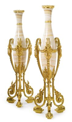 Ferdinand Barbedienne<br>1810-1892<br>A large pair of gilt-bronze mounted onyx amphora vases<br>Paris, third quarter 19th century | Lot | Sotheby's