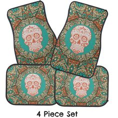 Car Mats Sugar Skull Turquoise Coral Retro Floral by FolkandFunky