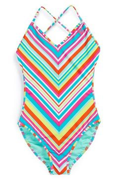 Roxy Stripe One-Piece Swimsuit (Big Girls) available at #Nordstrom