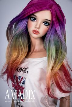 Rainbow splash (natural alpaca wig for bjd SD, MSD, Tiny) от AmadizStudio