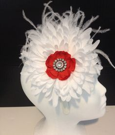 White and Red Flower Feather Rhinestonre Couture Headband. Girls White Headband,Fancy Girl Boutique Handmade Headbands. Valentine Headbands