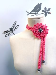Summer Crochet Flower Necklace / Lariat - Cotton Pink Flower with Grey Pearls - FULL BLOOM. $30.00, via Etsy.