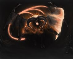 Drawing of Balrog.  I just love Balrogs ❤ . Originally, Balrogs were Maiar that were later persuaded by Melkor before the Awakening of the Elves. Their first dwellings had been Utumno, but after their master's defeat during the War for Sake of the Elves, the Balrogs and other creatures in Melkor's service escaped and went to Angband. .