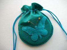 soft teal blue wool felt gift bag
