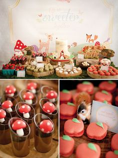 Oh my, this is charming! Would love to recreate this theme! - A.C. Woodland Creatures & Little Red Riding Hood Birthday Party
