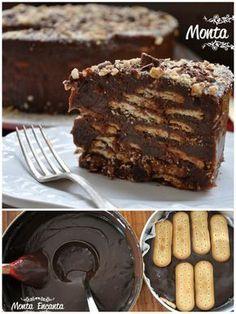 Para sobremesa, uma delicioso Bolo Torta de Palha Italiana, que vai parecer que você ficou horas na cozinha preparando, só que não. Montada em 10 minutos só com 2 ingredientes, brigadeiro e bolacha maisena