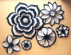 Chanel Inspiried - Large Paper Flowers - Flower Backdrop - by PapierDeco on Etsy My absolute love! It is not about classic Chanel camelia. It is more about Chanel style clothes. Since I make a lot of clothes for myself, an essential part of Paper Flower o Paper Flowers Craft, Large Paper Flowers, Paper Flower Backdrop, Giant Paper Flowers, Big Flowers, Flower Crafts, Fabric Flowers, Navy Flowers, Diy Paper