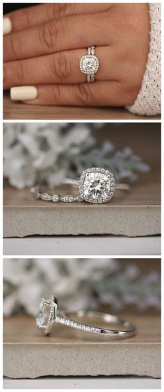White Gold Moissanite Cushion Engagement Ring, White Gold Ring, Forever Classic Moissanite Cushion Bridal Ring, Wedding Ring Set # Wedding Rings cushion Only 1 Pair White Gold Round Diamond Cluster Studs Earrings Push Back Post - Fine Jewelry Ideas Beautiful Wedding Rings, Wedding Rings Vintage, Vintage Engagement Rings, Classic Wedding Rings, Dream Wedding, Wedding Jewelry, Wedding Ring Sets Unique, Prom Jewelry, Forest Wedding