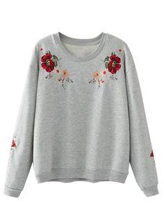 Gray Embroidery Flower Long Sleeve Sweatshirt   abaday