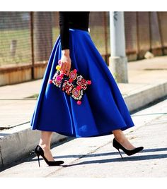 Amazing blue midi with neon highlight clutch