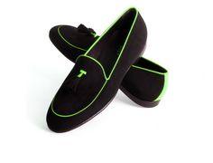 Warp Shoes – mocassino in camoscio nero e giallo fluo
