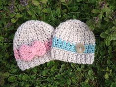 The Brooks beanie is the perfect hat set for newborn baby twins! It is made with 100% premium acrylic yarn and is soft and warm. These hats are a