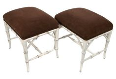 White Faux-Bamboo  Footstools, Pair