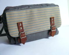 Women handmade grey resined/waxed canvas with tweed by aseismanos