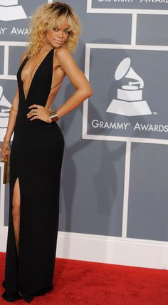 Rihanna's Armani Black Dress For 2012 Grammys, this is my absolute favorite look on her and this dress I want now!:)
