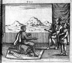 """Image Information When Nzinga entered a room to meet with the Portuguese, she observed that the Portuguese governor of Luanda was seated on the only chair; she immediately summoned one of her female retainers who fell upon her hands and knees and became her """"seat."""" Cavazzi (who writes the Queen's name as Zingha) witnessed this scene, apparently in astonishment"""