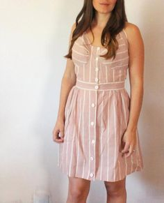 absolutely beautiful and rare 1940s cotton dusty rose striped play suit // dear society