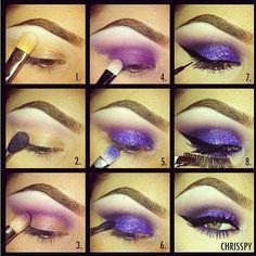 Purple Glitter Makeup Tutorial Makeup Tutorial Makeup Tips Make up, Women's Fashion #eyemakeup #makeup #beauty