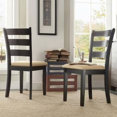 Lexington Ladder Back Dining Chairs, Set of 2, Black