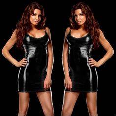 1PCS Hot Sexy Faux Leather Catsuit Dress Pole Dance Wear Women Night Club Fantasias Sexy Bodysuit Tannk Dress Fx1012