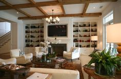 Giannetti Home - living rooms - fireplace built ins, fireplace built in cabinets, wood beams, living room wood beams, Built-in bookshelves and Living Room White, Living Room Colors, My Living Room, Living Spaces, Tv Bookcase, Bookshelves Built In, Built Ins, Book Shelves, Fireplace Bookshelves