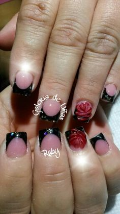 Black nails with red 3d