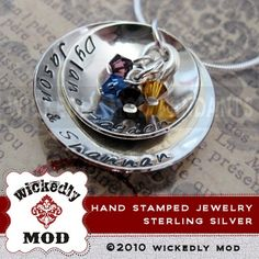 Hand Stamped Jewelry  Custom Personalized by wickedlymodpendants, $89.00
