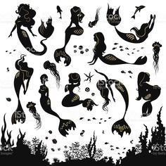 Illustration of Black and white silhouettes of mermaid isolated on white background. Set of silhouettes of mermaids and sea animals. Silhouette of the sea bottom covered with algae. vector art, clipart and stock vectors. Mermaid Drawings, Mermaid Art, Mermaid Clipart, Mermaid Paintings, Mermaid Tail Tattoo, Silhouette Images, Mermaid Silhouette, Merfolk, Free Vector Art