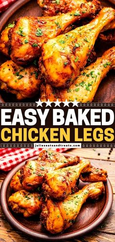 Baked Chicken Legs are always a hit! Not only do they come out tender and juicy, but they also have deliciously crispy skin. Make this easy, healthy dinner recipe for your family! If there are any leftovers, enjoy them as sandwiches or salads for lunch! Save this pin! Entree Recipes, Appetizer Recipes, Meat Recipes, Yummy Recipes, Dinner Recipes, Sausage Appetizers, Juicy Baked Chicken, Chicken Leg Recipes, Chicken Breakfast