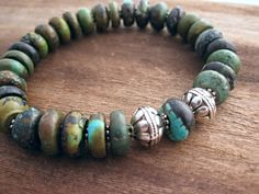 Brown and green turquoise stone beaded bracelet sterling silver southwestern jewelry beaded bracelet