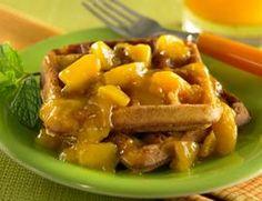 Cornmeal Waffles with Warm Peach Sauce