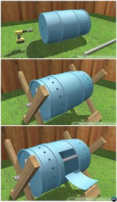 Garden Composting DIY Tumbling Composter Bin Simple DIY Compost Bin Projects - 12 Simple DIY Compost Bin Solutions Instructions: Go green with these clean, attractive and functional compost bin solutions Compost Barrel, Garden Compost, Compost Bin Tumbler, Diy Compost Bin, Outdoor Compost Bin, Homemade Compost Bin, Lawn And Garden, Garden Beds, Garden Train