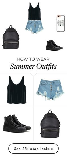 """""""Summer outfit"""" by loudy-curls on Polyvore featuring WithChic, MANGO, Converse, Yves Saint Laurent and Casetify"""