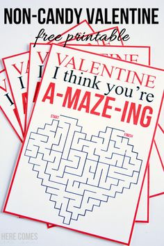 Non-Candy Valentines Printables - Non-Candy Valentine Printables Diy Valentines Cards, Valentine Gifts For Kids, Homemade Valentines, Valentine Day Crafts, Valentine Ideas, Free Printable Valentines, Valentine Box, Valentine Wreath, Valentine's Cards For Kids