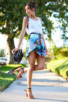 Tropical Inspired Looks - Actress and fashion blogger Ashley Madekwe spring outfit