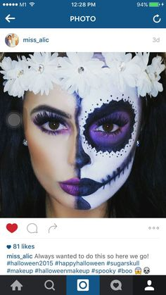 Day of the Dead makeup - Face - Halloween Halloween Sugar Skull, Visage Halloween, Halloween Make Up, Halloween Costumes, Sugar Skull Halloween Costume, Halloween Clown, Maquillaje Sugar Skull, Halloween Makeup Looks, Halloween Skeleton Makeup