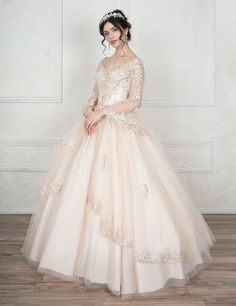 Appliqued A-line Ball Gown with Sheer Long Sleeves-Calla Collection-ABC Fashion Xv Dresses, Frilly Dresses, Quince Dresses, Pink Dress, Prom Dresses, Dresses With Sleeves, Fluffy Wedding Dress, Long Wedding Dresses, Gown Party Wear