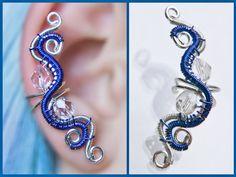 Sweet Neon Blue EAR CUFF with czech glass by CharmingWondersCW, $13.00