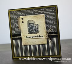 card camera cameras SU Stampin' Up! card for men masculine colors male , Traveler by Deb Fearns Masculine Birthday Cards, Masculine Cards, Scrapbooking, Scrapbook Pages, Camera Cards, Stampin Up Karten, Travel Cards, Beautiful Handmade Cards, Stamping Up Cards