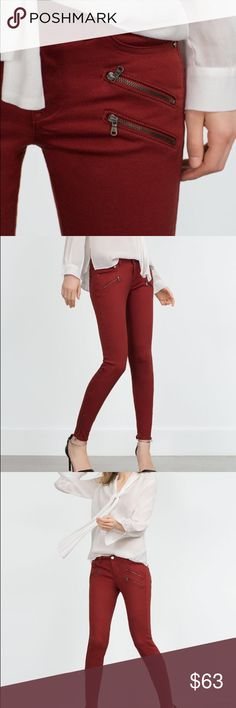 ZARA BIKER JEANS like new... PERFECT CONDITION Mid rise ... skinny color jeans . They fit AMAZING!!!   The color is like a TERRACOTA!!!   NO PP NO TRADES Zara Jeans Skinny