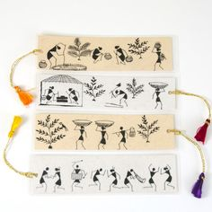 Warli bookmarks can be customised dm for details Worli Painting, Indian Arts And Crafts, Indian Folk Art, Madhubani Painting, Art Corner, Diy Art Projects, Wow Art, Aboriginal Art, Tribal Art