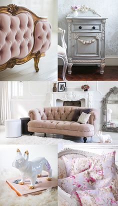 The French Bedroom Company Blog, Pantone's Colours of the Year 2016 Rose Quartz & Serenity Blue. Blush pink and blue home inspiration ideas. Pink velvet sofa, pink velvet bed, bonaparte blue french painted furniture, french toile cushions