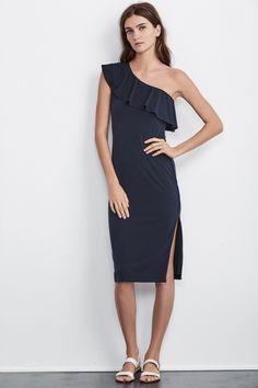 Esperanza One Shoulder Stretch Jersey Dress, Velvet by Graham and Spencer. https://velvet-tees.com/women/spring-2017-collection/esperanza-one-shoulder-stretch-jersey-dress.html