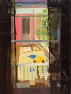 "Tollef Runquist Curtain, Toys oil on canvas 40"" x 30"" (2011?)       Tollef Runquist Kitchen Window Flowers  oil on board 16"" x 12"" (2011?..."