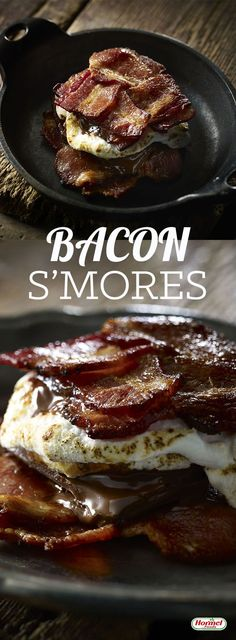 S'mores are a camping favorite, but S'mores with HORMEL® BLACK LABEL® Brown Sugar Bacon are a life favorite. Just Desserts, Delicious Desserts, Dessert Recipes, Yummy Food, Desserts With Bacon, Health Desserts, Tasty, Breakfast And Brunch, Bacon Recipes