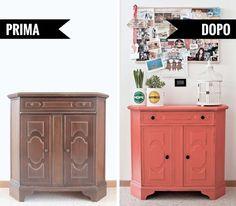 Prima e dopo: il progetto di ristrutturazione di un vecchio mobile anni '70. #diy #homedecor #home #faidate #tutorial