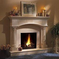 Barrington Classic Stone Fireplace Mantel - MantelsDirect.com